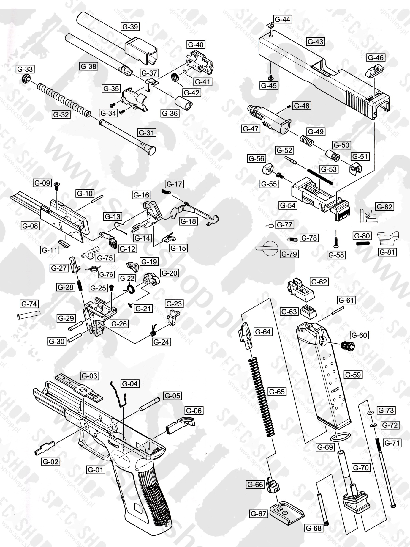 We Spare Part G17 G18c G19 56 Specshop Professional 1911 Exploded Diagram